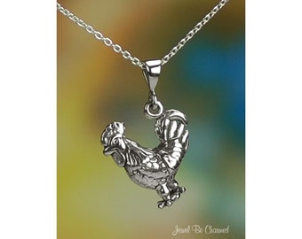 """Sterling Silver Rooster Necklace with 16-24"""" Chain or Pendant Only 925"""