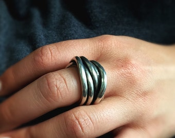 Sterling silver band, Silver swirl ring, Silver wire wrap ring, Infinity ring, Statement ring, Silver ring gift for him