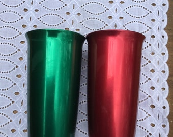 Vintage aluminum tumblers - red and green