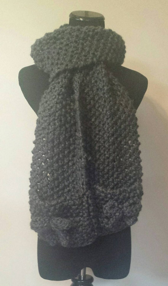 Scarf with pockets and bows hand knit choose by craftingupbuffalo