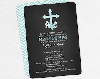 Baptism Invitation, Christening Invitation, Girl Baptism, Printable Baptism Invitation, Invite PDF, Floral, Watercolor, Chalkboard, Kayla