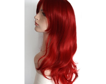 Long wavy curly dark red wig -high quality wig - ready to ship.