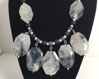 Black and White Jasper Statement necklace