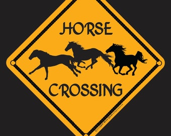 Horse Crossing 12x12 Aluminum Sign