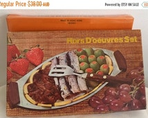 SALE 20% OFF Stainless Steel Hors D'oeuvres Set serving dish tray wooden handles w/box