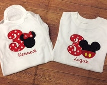 Red and black mickey mouse or minnie mouse birthday outfit - twins 3rd birthday shirt - custom birthday shirt