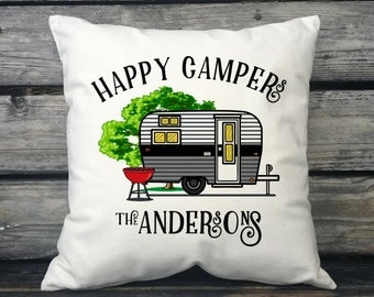 Personalized Happy Campers Canvas Pillow, Vintage Camper w/Last Name, Camping Gift, Personalized Gift, Trailer Decor, Camper Decor, SPS-184