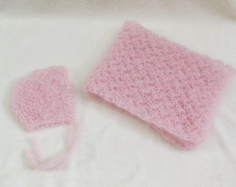 Pink Mohair Bonnet and Wrap