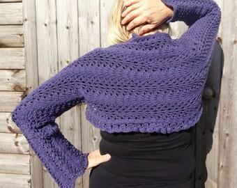 Hand knitted woman's purple wool shrug bolero