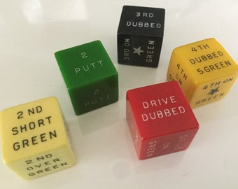 Vintage 40s Galloping Golf Dice Game 5 bakelite dice in Clearsite container