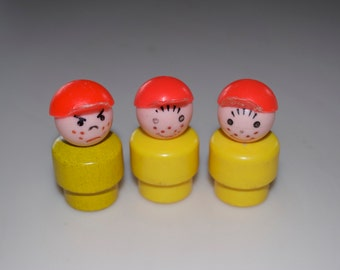Choose One: Vintage Fisher Price Little People Yellow Freckle Boy with Red Hat Plastic Wood