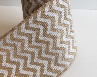 "4"" Chevron BURLAP Ribbon (Wired) Mason Jar Wrap -Wedding Decor - Burlap Wreath - Rustic wedding - Rustic decor - Burlap bow - DIY IDEA"