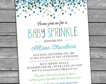 Baby Sprinkle Invitation Boy Aqua Blue Green Gray