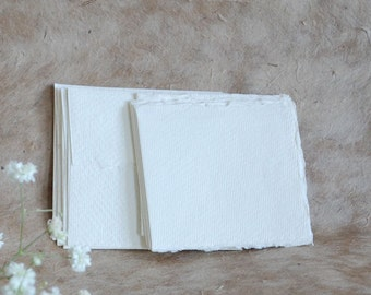 10 small blank cards & envelopes 7.5cm/3 inch square Khadi White Cotton Rag 210gsm Indian handmade paper, deckle edges