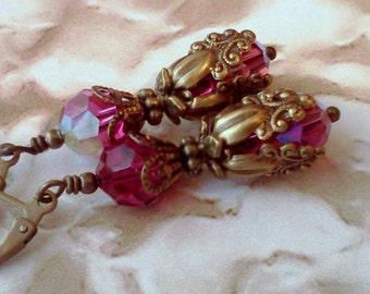 Swarovski Earrings, Handmade Earrings, Fuchsia Earrings, Magenta Earrings, Vintage Style Earrings, Victorian Earrings, Bright Pink Earrings