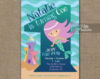 Mermaid Birthday Invitation - 1st Birthday Invitations - Girls 1st Birthday Party Invites - Printable One Year Old Mermaid Invitation MER1