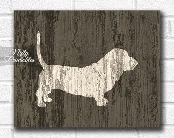 Basset Hound Print - PRINTABLE Rustic Dog Print - Wood Style Basset Hound Art - Basset Hound 8x10 Poster - Basset Hound Gifts - Dog Wall Art