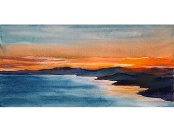Original seascape small watercolor painting, pastel and watercolor mix media painting