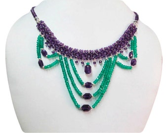 Designer Amethyst & Green Onyx beads necklace with Sterling Silver findings, Amethyst necklace, Green Onyx beads jewelry