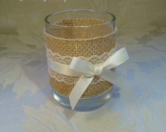6 x Rustic Style Votives. Country Style Wedding. Burlap and Lace Candle Holder.