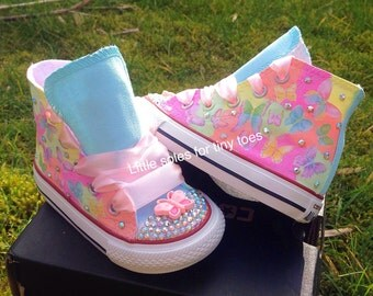 Summer butterfly crystal customised converse