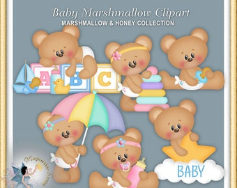 Teddy Bear Clipart, Baby Marshmallow and Honey 2015