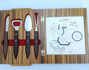 1960s bar set party set cheese board in wooden box