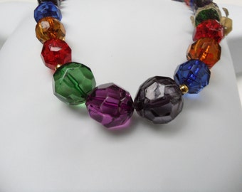 Deadstock Vintage Jewel Tone Wedding Renaissance Wedding Graduated Bead Necklace Made in Taiwan 22 Inch Necklace Multi Color Necklace