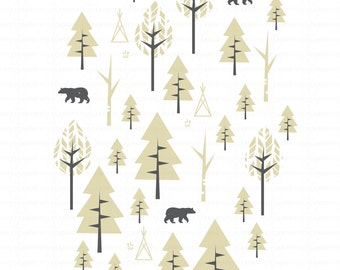8x10 in Father Bear in the Woods - FINE ART PRINT, Arrow, Father Bear Collection, Wall Decor, Home Decor, Modern, Minimal, Nursery, Tipi
