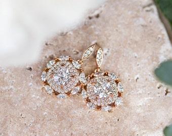 Bridal Earrings, Wedding Earrings, Rose Gold Earrings, Crystal Bridal Earring, 14k Rose gold Crystal Earrings, Dangle Earrings E142RG