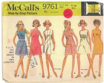 1960's Vintage Sewing Pattern - Retro Teen Short Dress McCall's Patterns # 9761 HV