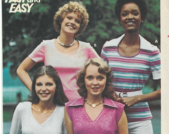 1980's Vintage Sewing Pattern - Retro Close Fitting T-Shirt  Pattern in Four Views Butterick Patterns # 4614 HV