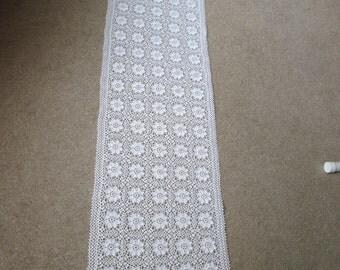 """Crocheted Dresser Scarf or Table Runner Soft White  53""""x11 1/2"""""""