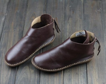 Handmade Women Leather Shoes,Oxford Soft Shoes, Flat Shoes, Very Comfortable