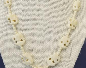 Vintage Tribal Carved Bones Necklace Pendant