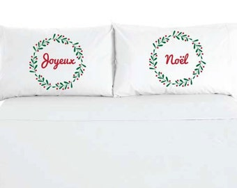 Joyeux Noel - Feliz Navidad - Merry Christmas Wreath Pillowcases - Custom Printed - Sold as a set of 2