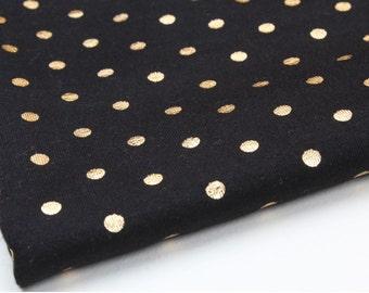 Rib Knit Fabric Gold Foil Polka Dot on Black