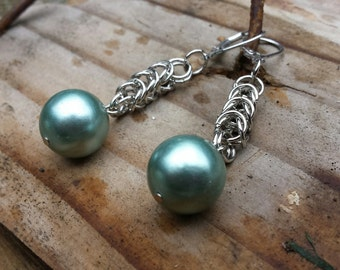 Earrings - Vintage Green Glass Pearls With Chainmaille Chains