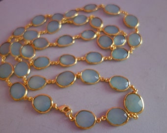 Fashion Jewelry Necklace Gold Plated Aqua Chalcedony Faceted Irregular , 36pcs Full 36 Inch