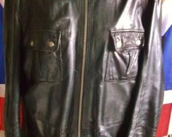 "Vintage/Retro F&F black Leather 3/4 coat-Glam Rock/goth/punk/rocker.-SIZE XL.CHEST 42/44"""