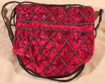 "Exquisite, unusual Vintage velvet Glass purses-""glass-bead"" bags-sumptuous VELVET"