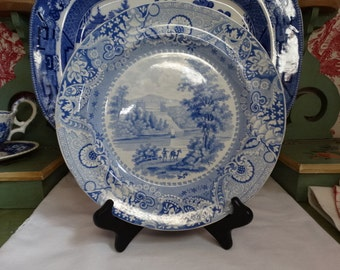 "MOVINGSALE 35% OFF Elkins, Knight & Company Antique Blue Staffordshire ""Irish Scenery"" Series Plate. Circa 1822-1826. Made in England"