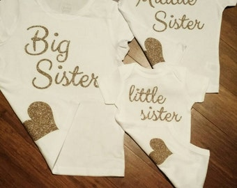 Set of 3 - Big Sister, Middle Sister, Little Sister shirts short sleeve with heart on back - 3 sibling shirts - siblings