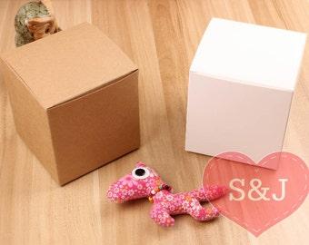 50x White/Brown 6x6x7.5cm DIY Kraft cupcake cardboard Paper Boxes