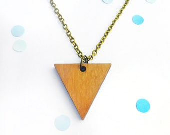 Triangle necklace | Wooden jewellery | Geometric pendant | Simple shape | Wood accessories