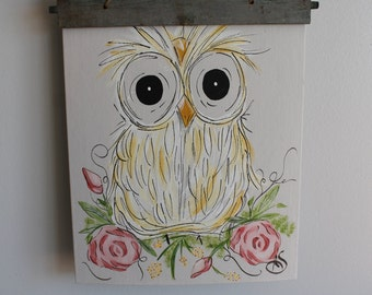 Hand painted owl canvas