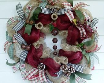 Christmas Wreath, Winter Wreath, Holiday Wreath, Jingle Bell Wreath