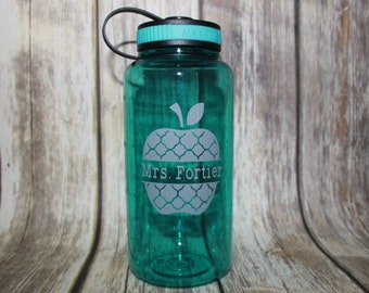 Teacher Water Bottle, Teacher 34oz Water Bottle, Wide Mouth Bottle, Water Intake Bottle, Water Level Bottle