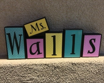 Teacher's Name blocks - pink/teal/yellow themed
