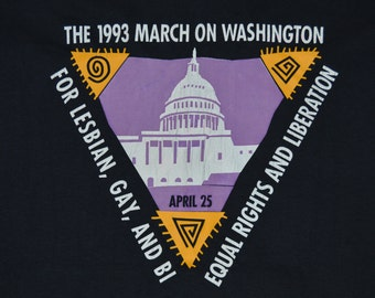 Vintage 1993 March on Washington Equal Rights Shirt LGBT Pride Gay Interest